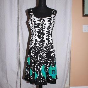 Nine West Teal & Black Sleeveless floral dress